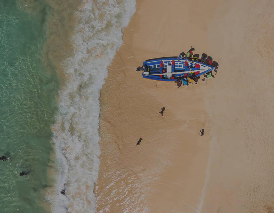 islas de Cabo Verde isla de sal pescadores playa