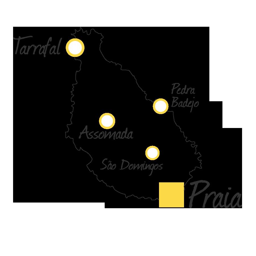 isla de santiago cabo verde mapa blanco